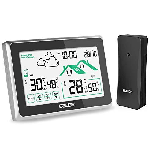 Osaloe Wetterstation Funk mit Außensensor, Innen und Außen Thermometer Hygrometer mit LCD Touchscreen, Digitaluhr für Temperatur-Feuchtigkeits-Monitor (Schwarz)