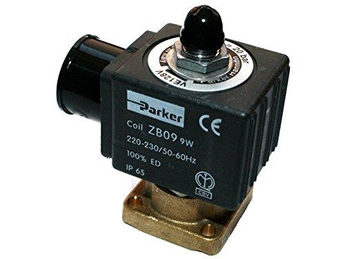 SOLENOID Ventil, 3-Wege, 230 VAC, Parker VE-128, Spule Typ ZB09, Außenkegel, DN, 1,2 mm, Einschub-Anschluss, DIN -20° bis 140 °C