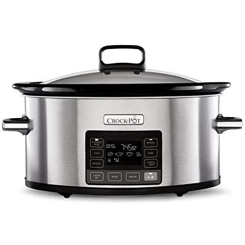 Crock-Pot TimeSelect Digital Slow Cooker | Programmable Digital Display | 5.6 L (7+ People) | Keep Warm Function | Stainless Steel [CSC066]