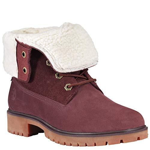 Timberland Womens Jayne Waterproof Fleece Fold-Down Burgundy Nubuck Boot - 7 M