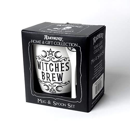 Alchemy Gothic Tasse und Löffel Set Witches Brew Weiß/Schwarz
