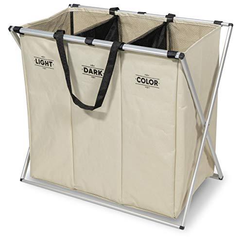 Navaris Cesta para Ropa Sucia de 3 Compartimentos - Organizador de Colada de 130L - Cesto de lavandería para Ropa de Color...