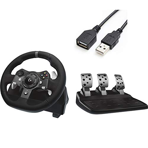 Premium 2020 Logitech G920 Dual-Motor Feedback Driving Force Racing Wheel with Responsive Pedals for Xbox One/PC + iCarp USB Extension