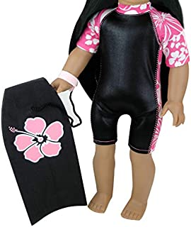 2 Pc. Set of 18 Inch Doll Boogie Board & Matching Wet Suit. (Doll not Included) Surfing Doll Clothes Set, Fits American Girl Dolls & More! 18 Inch Black/Hawaiian Print Wet Suit & Boogie Board