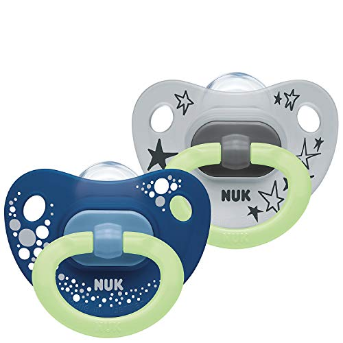 NUK Happy Nights Baby Dummies | 6-18 Months | Glow in the Dark Soothers| BPA-Free Silicone | Blue & Grey | 2 Count