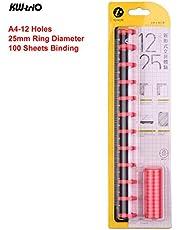 Ajcoflt Anillo de encuadernación de disco Diámetro del anillo de 25 mm Accesorios para accesorios de regla de 12 agujeros DIY T Agujero de hongo Hoja suelta A4 Cuaderno Bloc de notas Carpeta para