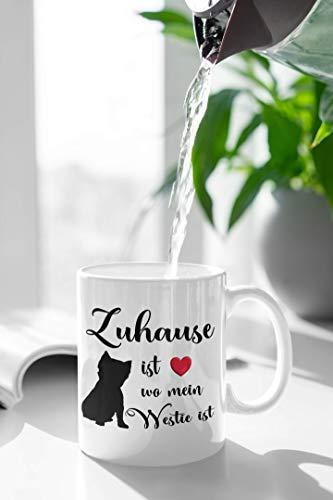 Zuhause ist wo mein Westie ist Kaffee Tasse Westhighland Terrier Hunde Liebe Herz