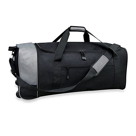 Travelers Club 32-Inch Compactable Rolling Duffel with Roomy Side Pockets, Folds Easily for Storage, Made of 1,200 Denier Polyester for Durability, Black/Gray