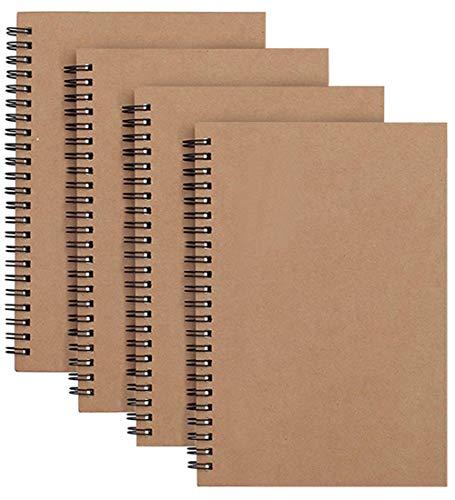 Notizblock, Spiralbindung, A5, Kraftpapier, blanko, 100 Seiten/50 Blatt, Memo-Planer, Steno-Block, perfekt für Reisen, Schule, 21 x 14 cm, 4 Packungen