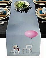 テーブルランナー 動物 犬 椅子 ピンク テーブルクロス モダン 北欧風 プレースマット レストラン用 滑り止め 上品 断熱 食卓飾り お食事マット おしゃれ インテリア 41x183cm