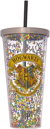 Spoontiques - Copo Harry Potter – Copo de glitter Hogwarts com canudo – 590 ml – Multicolorido
