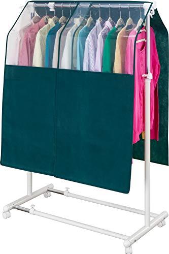 アストロハンガーラックカバー幅90cmグリーン不織布透明窓固定ヒモ付き防塵613-38
