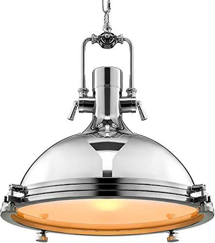Luminarias, 212, Vintage 15.75 '' Amplia lámpara de techo araña industrial luz colgante luz interior vidrio helado, Fixturesss