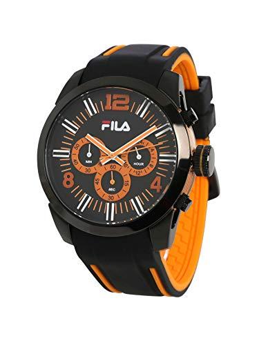 FILA Herren-Chronograph schwarz, orange | Herrenuhr | Quarz | schwarz