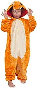 """YAOMEI Niños Onesies Kigurumi Pijamas, Niña Traje Disfraz Capucha, Ropa de Dormir Halloween Cosplay Navidad Animales de Vestuario (130 para Niño Altura 120-130CM (47""""-51""""), Charizard)"""
