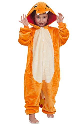 Dolamen Niños Unisexo Onesies Kigurumi Pijamas, Niña Traje Disfraz Animal Pyjamas, Ropa de Dormir Halloween Cosplay Navidad Animales de Vestuario (130-140CM (51'-55'), Charmander)