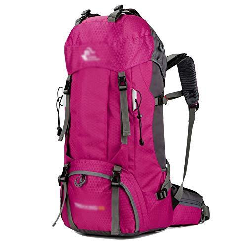 GELing 55L Travel Sac à Dos, idéal pour Outdoor Sport, Randonnée, Trekking, Camping Voyage, Alpinisme. étanche Sac à Dos,Rose,68X33X20cm