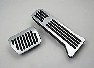 Maite Car Accelerator Fuel Brake Pedal Covers for BMW 1 3 4 5 6 Series X1 X3 X5 X6 Aluminum Alloy Anti-Slip Rubber Footrest Pedals No Drill