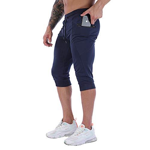 FIRSTGYM Mens Casual Shorts 3/4 Jogger Pants Workout Training Jogger Capri Pants Navy