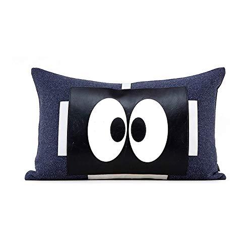 Juudoiie Grandes ojos dibujos animados patrón almohada amortiguador habitación niño niña niños habitación linda dibujos animados almohada cintura almohada habitación de niño habitación de niño cama al