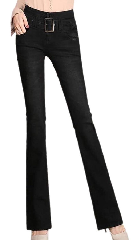 maweisong 女性のブーツカットデニムパンツ高ウエストストレッチはカジュアルジーンズ洗浄