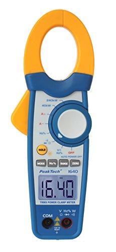 PeakTech True RMS Stromzange 1000A AC DC und Digital Multimeter 4000 Counts mit Durchgangsprüfer - CAT III 600V, 1 Stück, P 1640