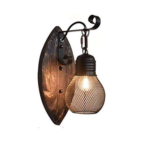 Rustic Industrial Wall Light Black lampshade Vintage Wood Wall Sconce Metal Wall Lantern Retro Art Decorations lamp Fixture Bedroom Living Room Dining Room Cafe Kitchen Indoor Applique murale, E27