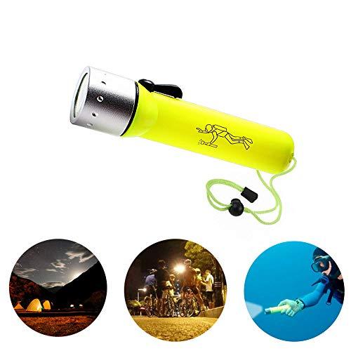 LED Linterna de Buceo, Linterna de Iluminación, Impermeable, Interruptor Magnético, Adecuado para Pesca Nocturna, Buceo, Ciclismo de Noche, Senderismo de Noche, Exploración al Aire Libre