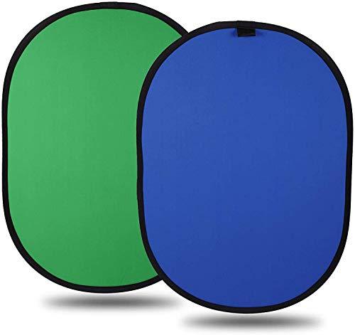 LTRINGYS Chromakey Green Screen Roll Up Hintergrund 3,2 x 5 ft 2 in 1 Faltbares reversibles Multi-Disc-Hintergrund-Popup-Blau mit Tasche für Stuhl Studio-Kamera Foto- und Außenbeleuchtung (3.2 x5 ft)