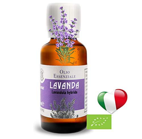 Olio Essenziale Biologico Alimentare Di Lavanda (30 ml) PRODOTTO IN ITALIA,Essenza Naturale,Olii Per Diffusori Puro,Profumo Per Diffusore, Diffusori A Ultrasuoni, Umidificatore Ambienti