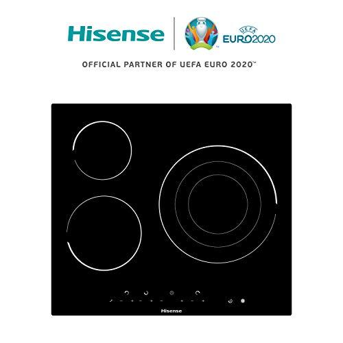 Hisense E6322C - Placa Vitrocerámica, 3 zonas, 1 con Foco Gigante 30 Cm, Triple Corona, Encimera de 60Cm, Bloqueo Infantil, Resistente a los Arañazos,Terminación biselada