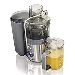 "Hamilton Beach Premium Juicer Machine, Big Mouth 3"" Feed Chute, Centrifugal, Easy Clean, 2-Speeds, BPA Free 40 oz Pitcher, 850W, Silver (67850) 