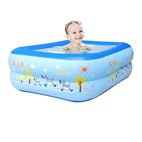 WEY&FLY Familie Pool, Kinderpool für Schwimmen Spielen Schlafen, Kinder Aufstellpool Planschbecken Aufblasbare Pool, Aufblasbare Badewanne, 3-Ring Embossing(120cm, Blau)