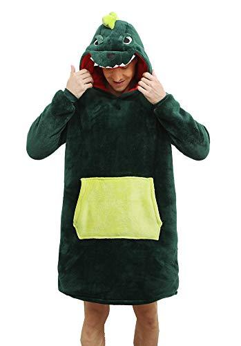chuangminghangqi Felpa Coperta con Cappuccio e Maniche Calda Accogliente Unisex Adulti Panda Plaid con Oversize Tasca Donna Uomo per Natale (Verde, L)