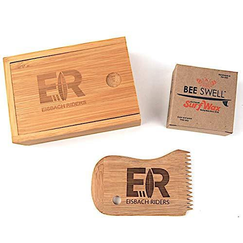 Eisbach Riders Bamboo Surf Wax Box mit Kamm und Organic Handmade Wax (Cold Water/Tropical) - Bambus Wachs Box… (Wax Box + Comb + Cold Water)
