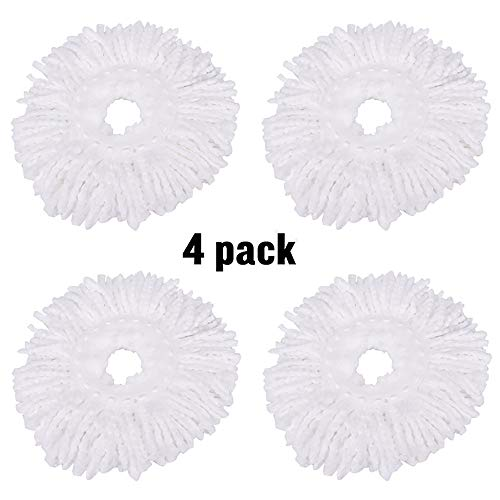 ZZM 4 Microfiber Mop Replacement Pack, Round Swivel Mop Replacement Replacement Mops Universal Head Mop 360 ° Durable Mop Heads Refills Mop