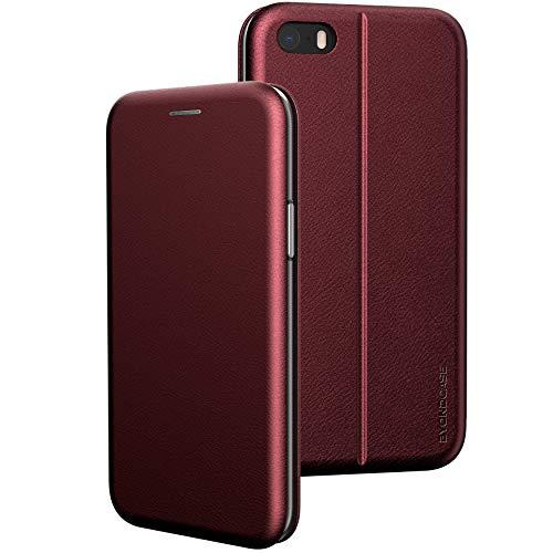 BYONDCASE iPhone SE 2016 Hülle Rot, iPhone 5s Hülle, iPhone 5 Handyhülle [Deluxe Leder Flip-Case Klapphülle] Fullbody 360 Grad Rundumschutz kompatibel mit dem iPhone 5s / 5 / SE2016