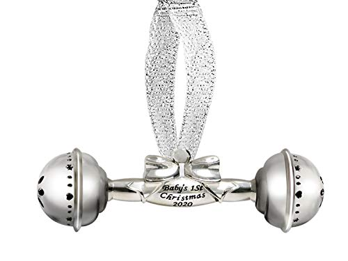 Holiday Jingle Baby's First Christmas Ornament 2020 – First Rattle Christmas Ornament Decoration – Engraved Baby Rattle – Exquisite Silver Rattle Design – Baby's First Christmas Celebration
