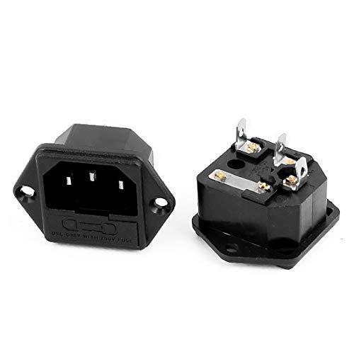 New Lon0167 250V 10A Destacados 3 Terminales Entrada eficacia confiable Macho Toma de corriente Conector Fusible Porta PC 2 PC(id:574 40 fd 6ef)