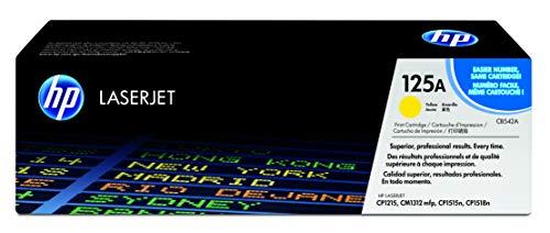 HP 125A CB542A, Amarillo, Cartucho Tóner Original, de 1.400 páginas, para impresoras HP ColorLaserJet CP1215, CP1515, CP1518, CM1312 y CP151n