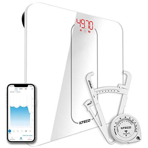 ILTECO Bascula de Baño Inteligente, Bascula de precision digital con Tecnologia Bluetooth conexión Android e iOS, Pantalla LCD, Tecnologia Handsfree Blanco
