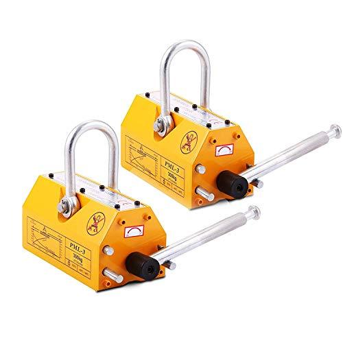 BestEquip 2PCS Steel Magnetic Lifter 660 LB Metal Lifting Magnet 300 KG 2PCS Neodymium Magnetic Lift Hoist Shop Crane (2PC)