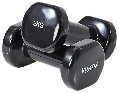 Kawanyo Mancuernas de vinilo, un par de 2 unidades, para entrenamiento de fuerza, gimnasia y ejercicio, pequeñas mancuernas resistentes, 2 x 2 kg.