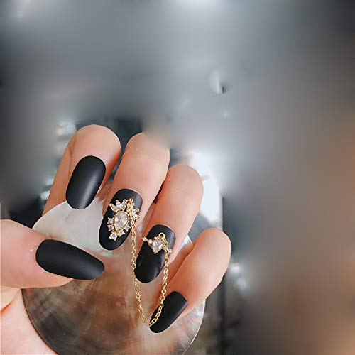 XXF Valse Nagels, Kunstmatige 3D Valse Nagels Mode Metaal Zwart Ronde Acryl Volledige Cover Medium Lange Nep Nagels met Zwarte Scrub En Gouden Ketting