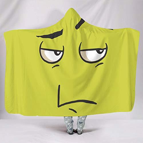 Dofeely Zitronengelbes Gesicht ThemeWearable Tapisserie Hooded Blanket Hypoallergen Microfaser Wohndecke Kuscheldecke Schlafdecke TV Computer Werfen Decke Für Erwachsene White 130x150cm