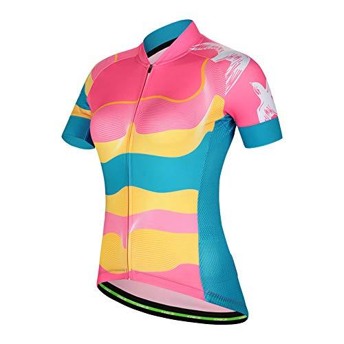 SXSHUN Maillot de Ciclismo para Mujeres Camiseta de Manga Corta Secado Rápido(S-2XL),...