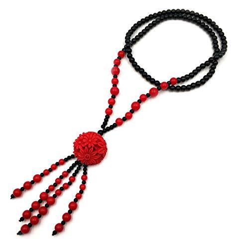 Collar de cadena larga con colgante de flor roja de cinabrio para mujeres y niñas, cuentas de piedra natural con colgante de ropa, accesorios 100% hecho a mano con cuentas de arte femenino moda