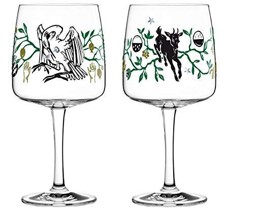 Dekomiro Ritzenhoff Gin Ginglas 2er Set Frühling 2020 von Karin Rytter Storch und Ziege mit Glasreinigungstuch