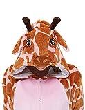 ANBOTA Kids Giraffe Onesie Fleece Animal Cosplay Costume Halloween One Piece Pajamas for Girls, Pink Giraffe 140