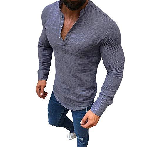 KPILP Männer Solide Lange Ärmel V-Ausschnitt Button Up Leinenhemden Lässig Basic Business Fit Bluse(Grau, 3XL
